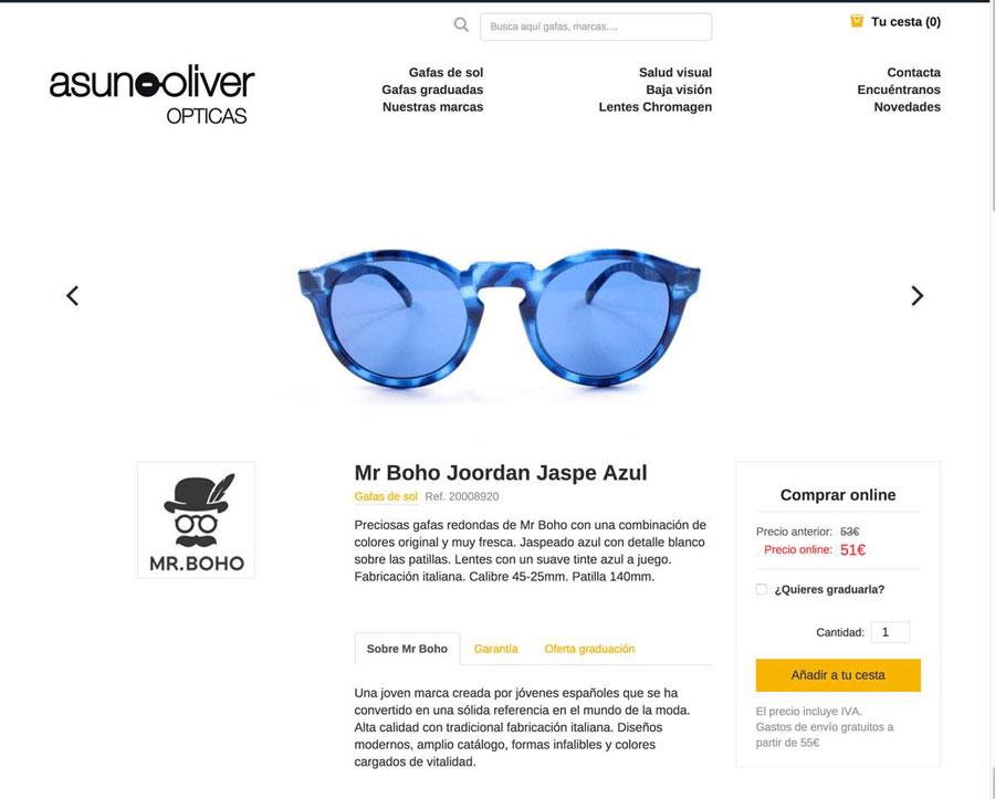 Página de producto venta online Asun Oliver Optidas