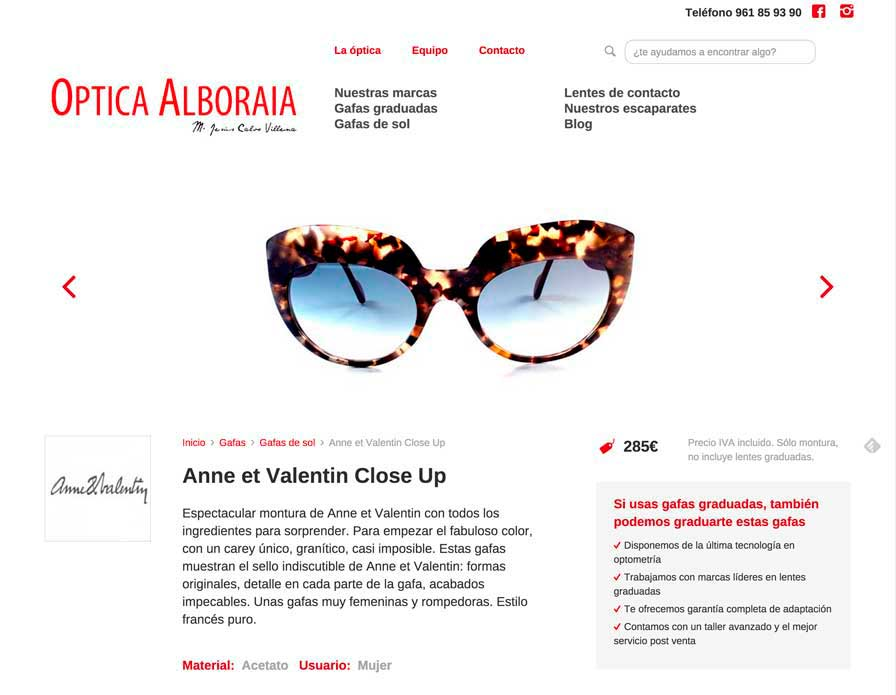 Optica Alboraia Sitio Web