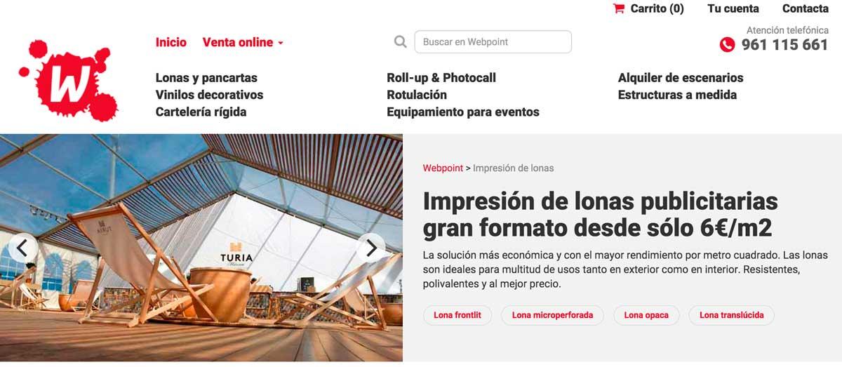 Sitio web de comercio electrónico webpoint
