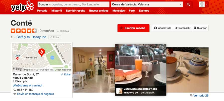 Reseña de negocio en Yelp