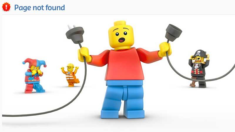 Página de error 404 Lego
