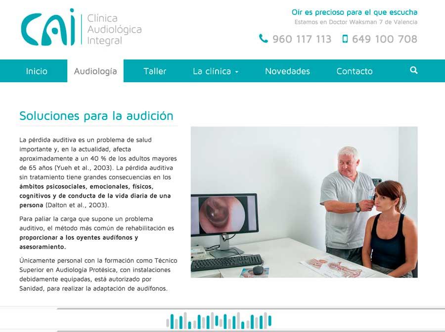Sitio web Audiología Integral Valencia