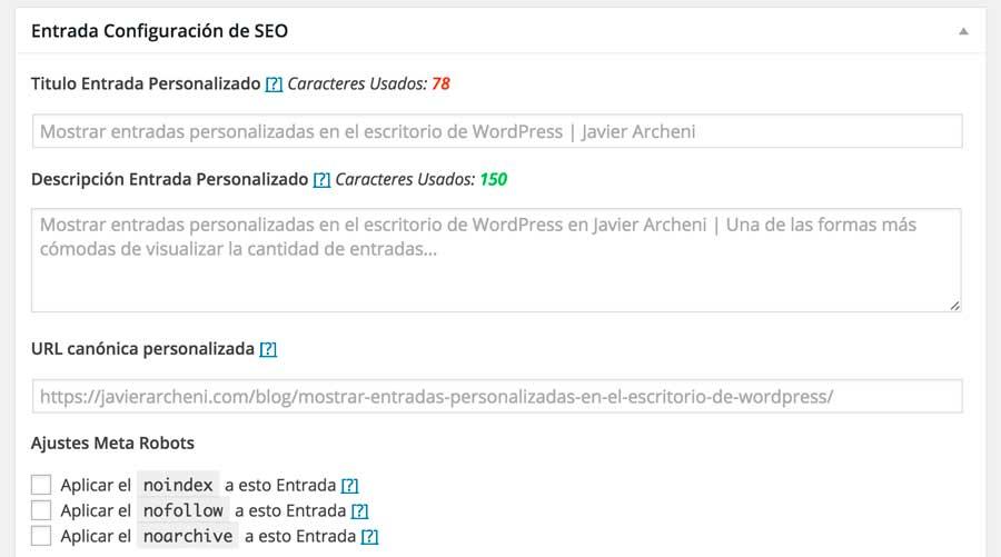 Configuración entradas SEO framework