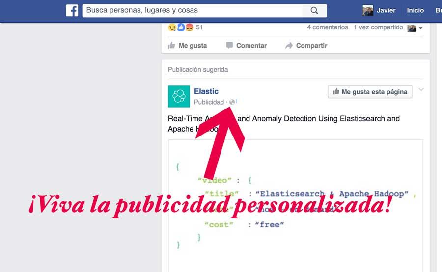 Publicidad personalizada en el feed Facebook