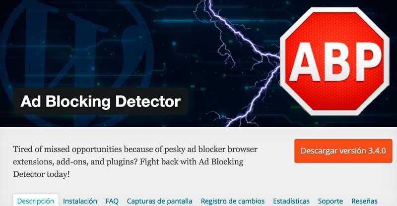 Plugin para detectar bloqueador de anuncios en explorador
