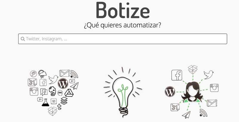Página de Botize automatizador de tareas