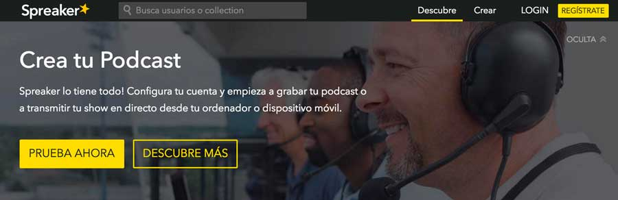 Web de podcasts Spreaker