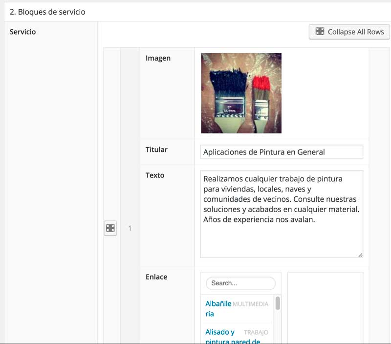 Flexible Content Field ejemplo de uso WordPress