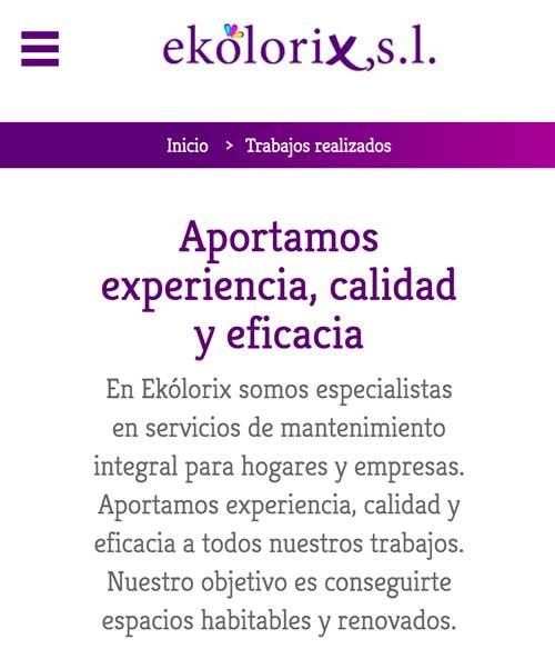Adaptación a móviles página web Ekolorix