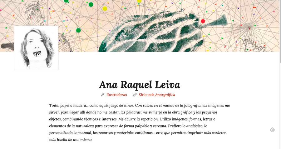 Detalle página ilustradora en el blog
