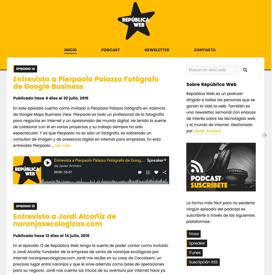 Sitio web del podcast República Web