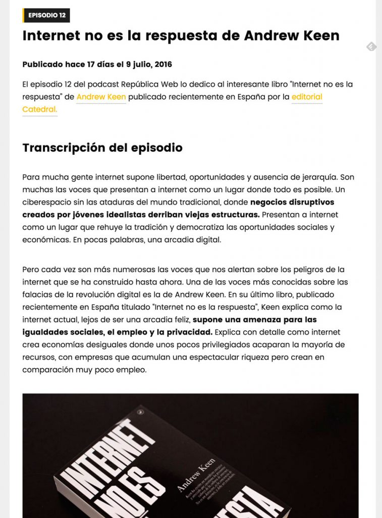 Sitio web del podcast República Web