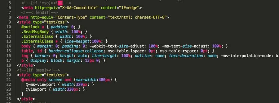 Código HTML obtenido de MJML