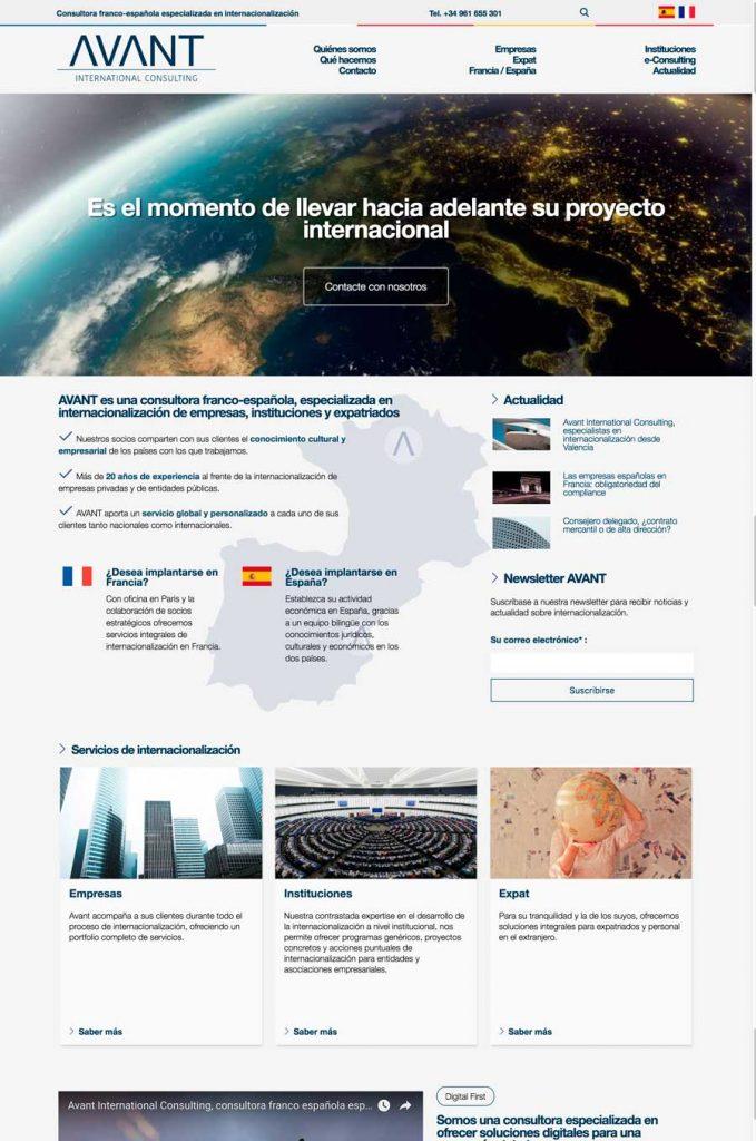 Sitio web multilingüe Avant versión escritorio