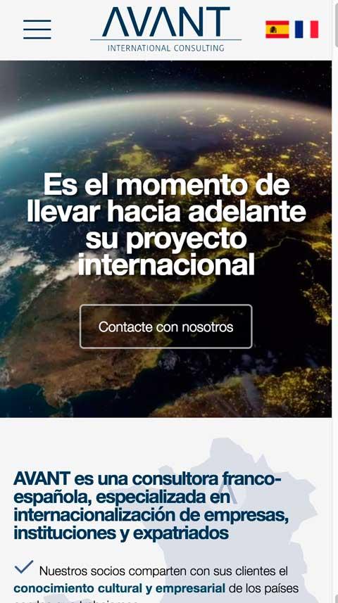 Sitio web multilingüe Avant versión móvil