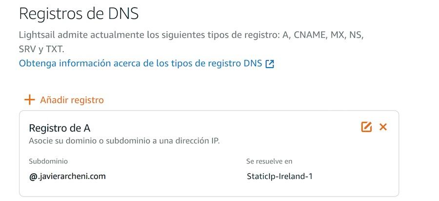 Configuración del DNS en AWS