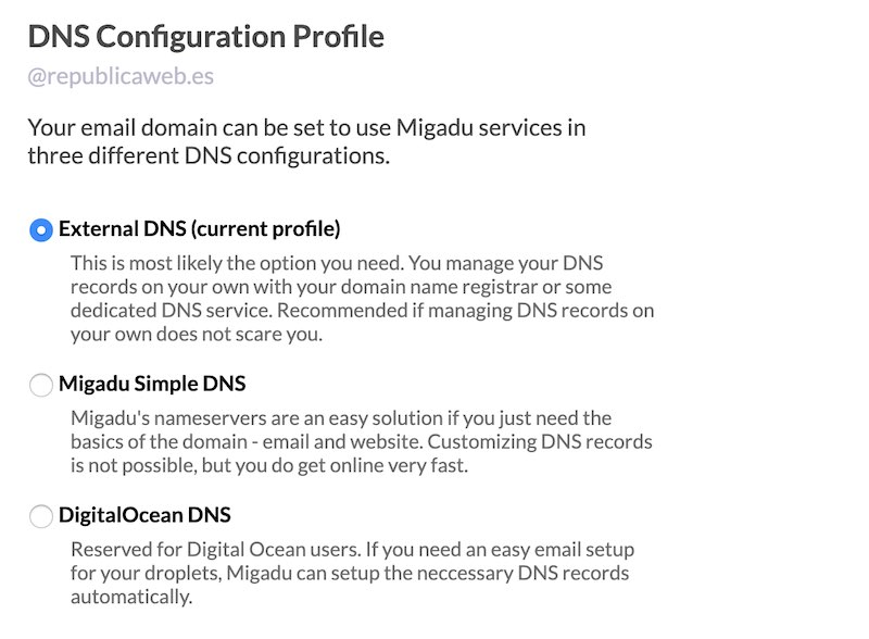 Opciones de configuración de correo electrónico gratuito con Migadu