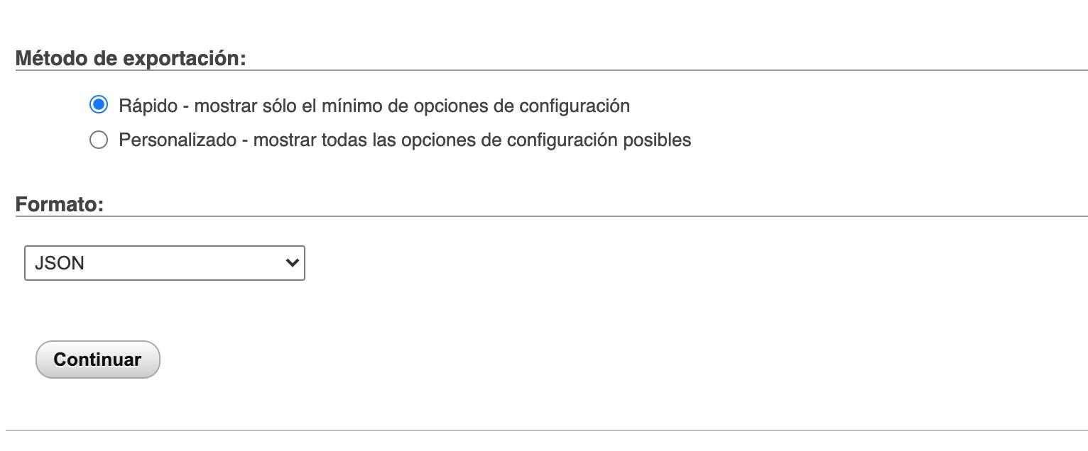Opción exportar tabla mysql a formato JSON desde phpMyAdmin