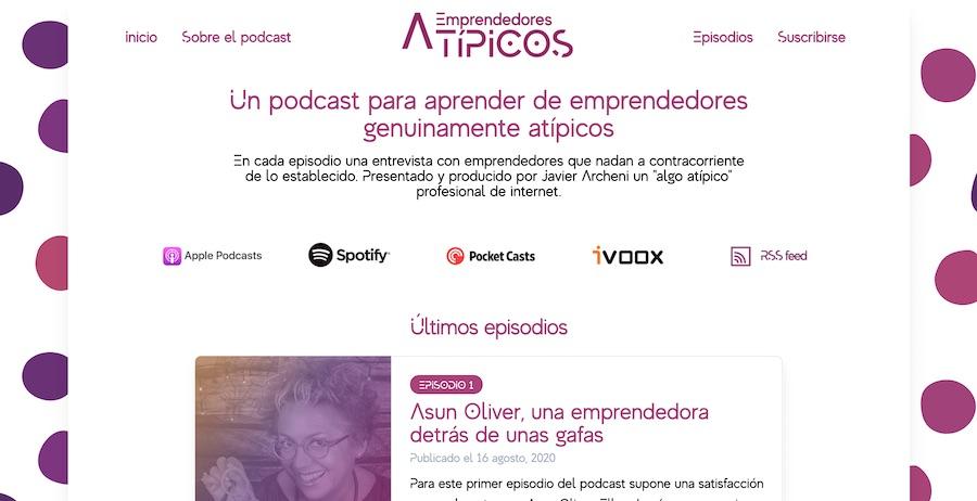Sitio web podcast Emprendedores Atípicos